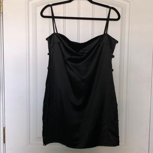 "Tobi ""Not Yours"" Black Satin Shift Dress"